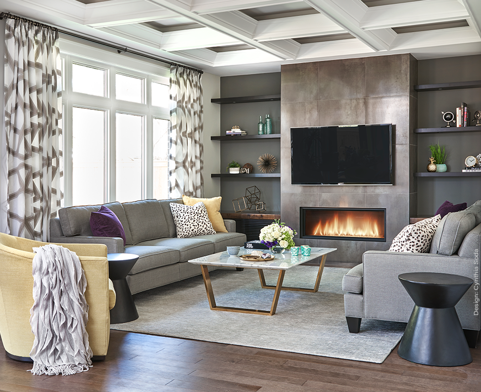 Living Room Design, Coffered Ceiling