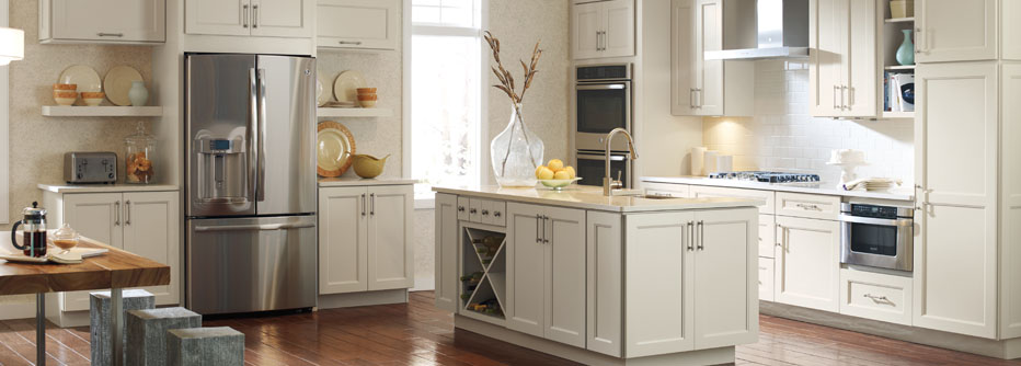 kemper white cabinets in kitchen