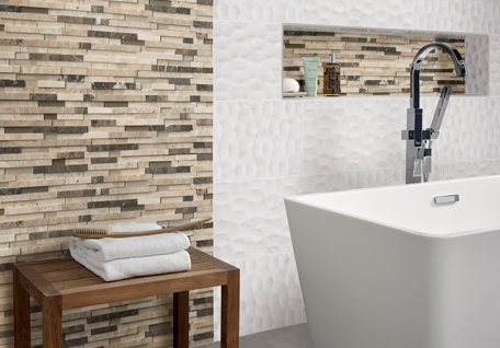 MSI brown and tan subway tile in bathroom