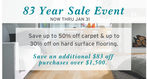 83 year sale event at Kerns Carpet One
